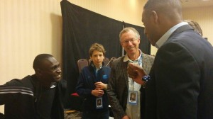 David Rudisha having a laugh with Lewis Johnson and Craig Masback