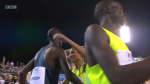 The Olympic champs Kiprop and Makhloufi congratulate each toher