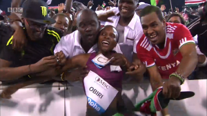 The Kenyan fans go wild