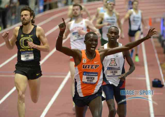 Rotich celebrates indoors after winning the mile (More 2013 NCAA Indoor photos)
