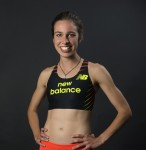 Abbey D'Agostino models her New Balance uniform which she will first wear in competition at the USA Outdoor Track & Field Championships in Sacramento, Calif., on June 27 (photo courtesy of New Balance)