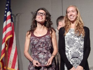 Emma Bates (l) and Emily Stites at the NCAA xc banquet in 2013. See the rest of the beautiful people at the NCAA XC banquet here.