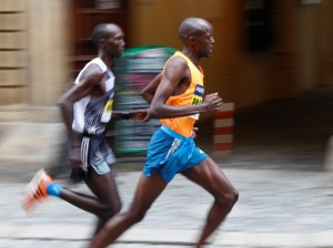 Pacemaker --and eventual winner-- Geoffrey Ronoh of Kenya leads compatriot Wilson Kipsang at the 2014 Mattoni Olomouc Half Marathon in the Czech Republic (photo courtesy of RunCzech.com)
