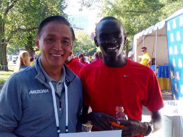 oach James Li of the University of Arizona and Stephen Sambu after Sambu won the 2014 B.A.A. 10-K in a world-leading 27:25 (Photo by Karen Locke)