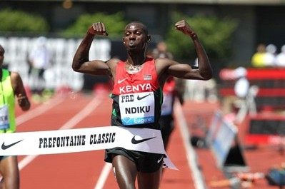 Will Ndiku, shown here at Pre last year, have reason to celebrate on Friday?
