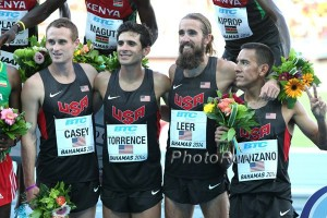 US men's 4 x 1500 team in the Bahamas in 2014 - Pat Casey, David Torrence, Will Leer and Leo Manzano
