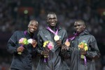 Amos, Rudisha and Kenya's Timothy Kitum were all smiles on the podium in London two years ago