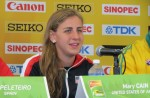 Mary Cain speaking with the media in advance of the 2014 IAAF World Junior Championships (photo by David Monti for Race Results Weekly)