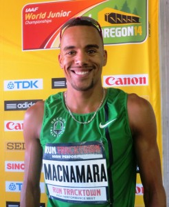 Jordan McNamara after winning the 2014 Run TrackTown High Performance 1500 (photo by Chris Lotsbom for Race Results Weekly). Singlet is misspelled.