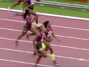 Allyson Felix and Blessing Okagbare