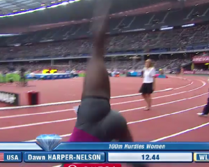 Dawn Harper Celebrates the World Lead with a Cartwheel