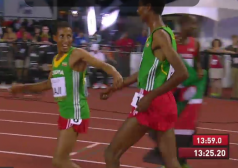 Kejelcha collapsed to the track afterwards and had to be convinced to take a victory lap
