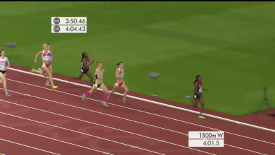 van Buskirk and Weightman try to reel in Kipyegon in the final straight