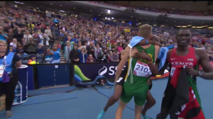 Amos rejoiced with South Africa's Andre Olivier after the race