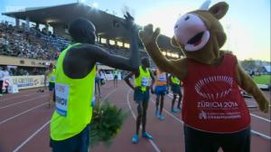 Ronald Kwemoi celebrates