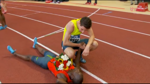 Not only did he run fast but Pierre-Ambroise Bosse also showed great sportsmanship