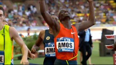 Amos won the best 800 of the year so far in Monaco