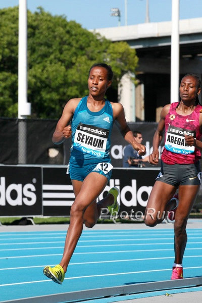 Dawit Seyaum would most definitely be favored over Mary Cain if they both were in the 1500. 2014 adidas GP Photos.