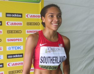 Sabrina Southerland of the United States after here preliminary heat in the 800m at the 2014 IAAF World Junior Championships (photo by Chris Lotsbom for Race Results Weekly