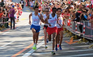 Daniele Meucci of Italy (l) with Viktor Roethlin of Switzerland, Yared Shegumo of Poland and Javier Guerra of Spain chasing leader Marcin Chabowski of Poland (not in photo) at the 21st European Championships Marathon in Zurich. Meucci would win in 2:11:08 (photo by Jane Monti for Race Results Weekly)