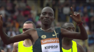 Kiprop had plenty of time to celebrate