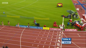 Dibaba had a big lead at the bell