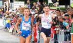 Valeria Straneo of Italy and Christelle Daunay of France begin the final 10-kilometer lap of the 2014 European Championships Marathon in Zurich (photo by Jane Monti for Race Results Weekly)