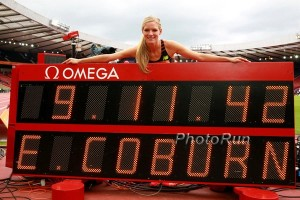 Coburn was all smiles in Glasgow on July 12 as she broke Simpson's American record.