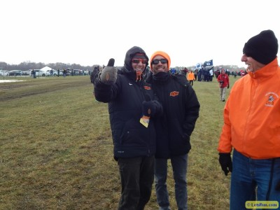 OK State coaches Dave Smith and Bobby Lockhart were all smiles ahead of a frigid NCAAs last year