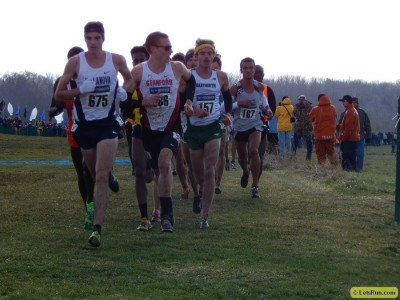 Tiernan (far left) leading the chase pack at NCAAs last fall