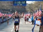 Molly Huddle winning the B.A.A. 5-K last April in a personal best 15:12 (photo by Jane Monti for Race Results Weekly)
