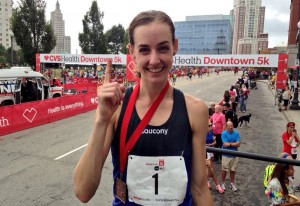 Molly Huddle after winning her fourth USA 5-K road running title at the 2014 CVS Health Downtown 5-K (Photo by Chris Lotsbom for Race Results Weekly)