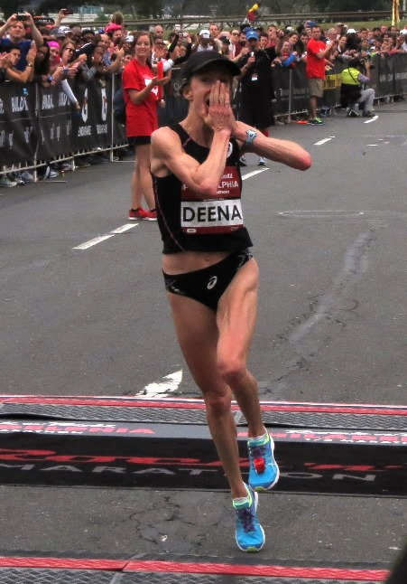 Deena Kastor is overwhelmed with emotion after breaking the world half-marathon masters record at the 2014 Rock 'n' Roll Philadelphia Half-Marathon; she clocked 1:09:35 (photo by David Monti for Race Results Weekly).