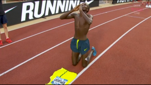 Kiplagat exulted after his 3:27.64 in Monaco, the fastest time in 10 years
