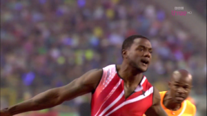 Gatlin flew in the 100 (video below)