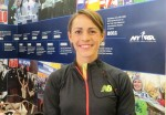 PHOTO: Jenny Simpson at the historic headquarters of the New York Road Runners at 9 East 89th Street in advance of the 2014 Fifth Avenue Mile (photo by Chris Lotsbom for Race Results Weekly)