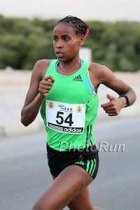 Tadese at the 2012 RAK Half Marathon, where she finished fourth