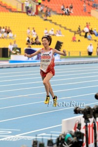Fukushi celebrates her bronze in Moscow last year.