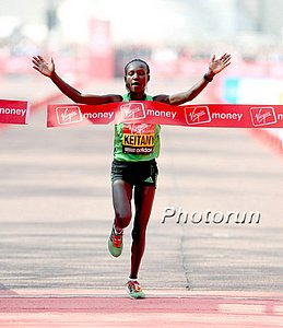 Keitany celebrates the first of her two London Marathon titles in 2011