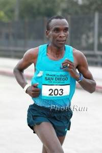 Kipchoge, in San Diego last year, has never finished lower than second in a marathon.