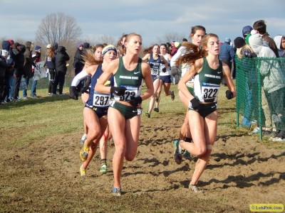 MSU's Leah O'Connor (middle) and Katie Landwehr (right) at NCAAs last year