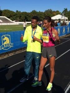Lelisa Desisa and Mamitu Daska celebrate their wins in Boston on Sunday