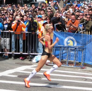 Shalane Flanagan finishing the 2014 Boston Marathon in 2:22:02, the fastest time ever by an American woman at Boston (photo by Jane Monti for Race Results Weekly)