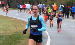 Molly Huddle leads Kim Conley (orange shorts), Sara Hall (black uniform) and Emily Sisson at the 2014 .US 12-K Championships (photo by Jane Monti for Race Results Weekly)
