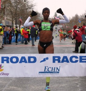 Diane Nukuri wins the 2014 Manchester Road Race (photo by Jane Monti for Race Results Weekly)