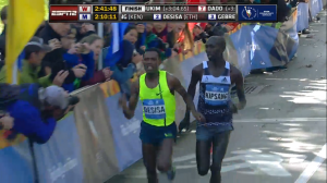 Kipsang Looks at Lilesa After Lilesa Made Contact and Retook the Lead