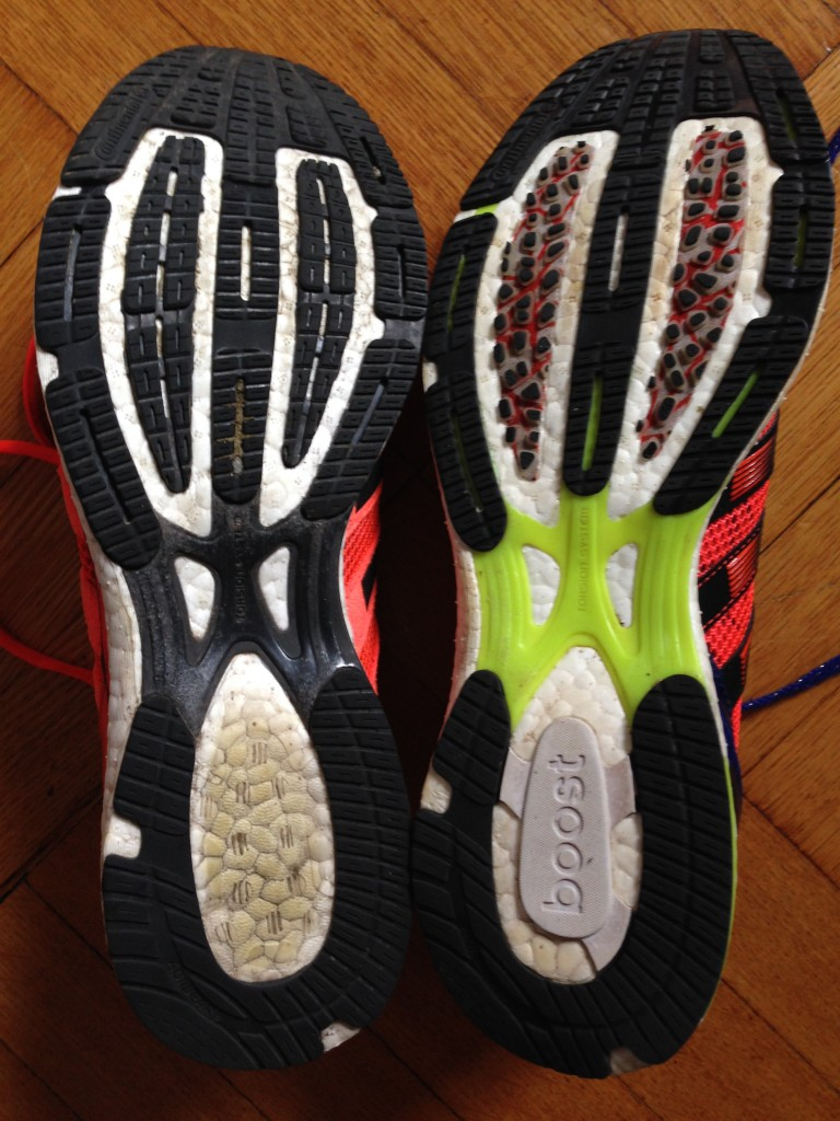 adidas adios Boost (rubber on outsole on left, DSP on right)