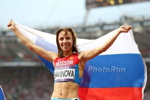 Mariya Savinova celebrating her London Olympic victory *More 2012 Olympic photos