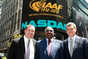 Mark Wetmore, Lamine Diack and Nick Davies in New York in 2012