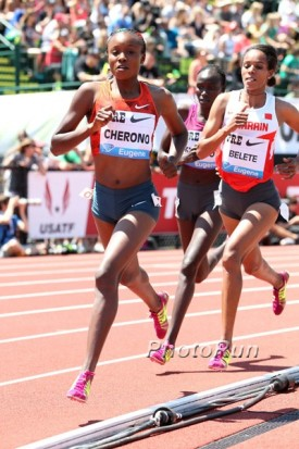 Cherono on her way to victory in the 2 mile at the Pre Classic on May 31.